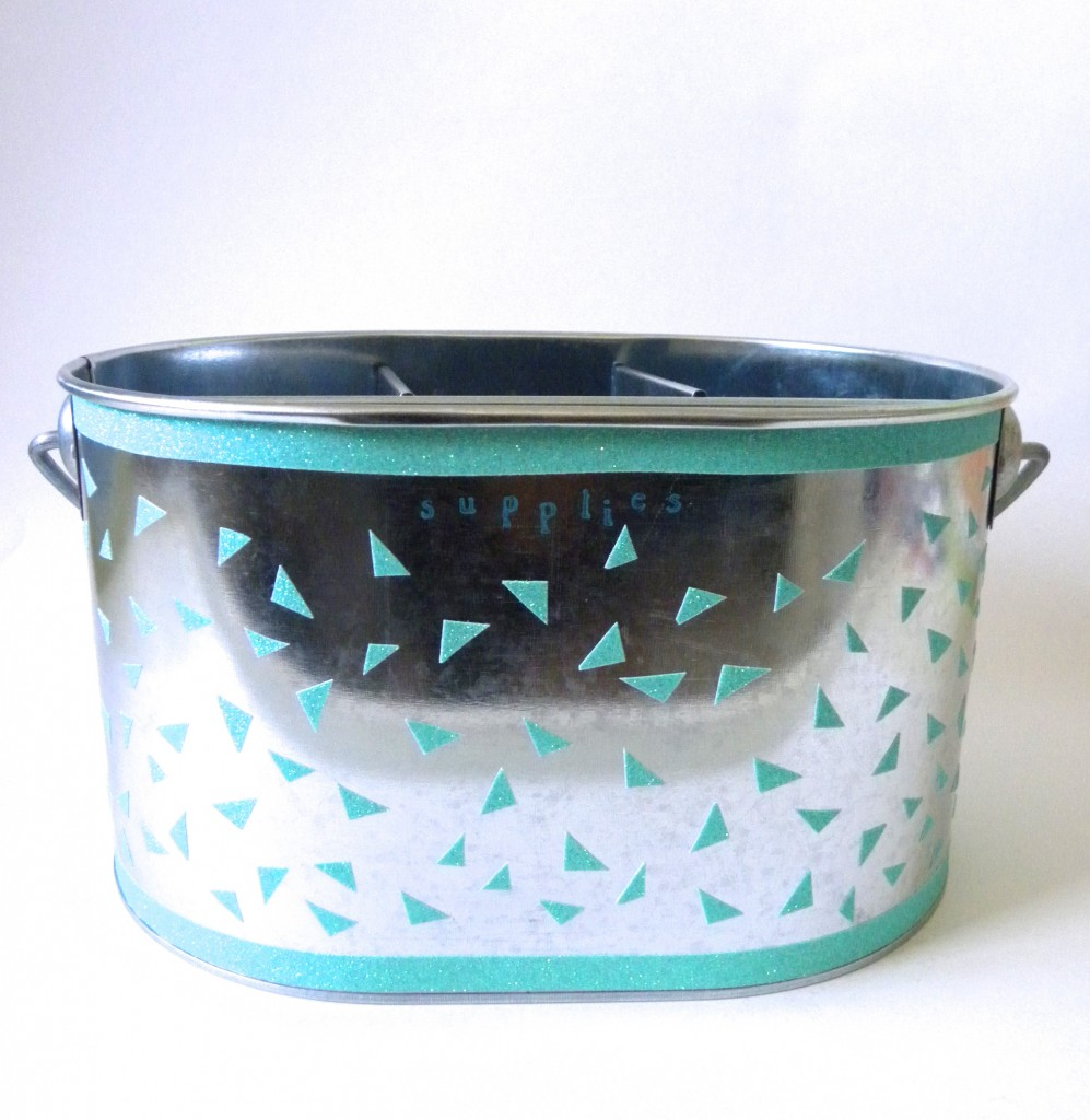Metal caddy for craft supplies.