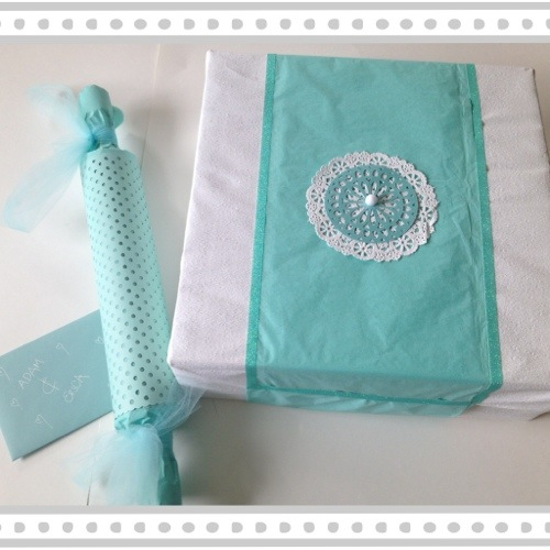aqua and white wedding gift