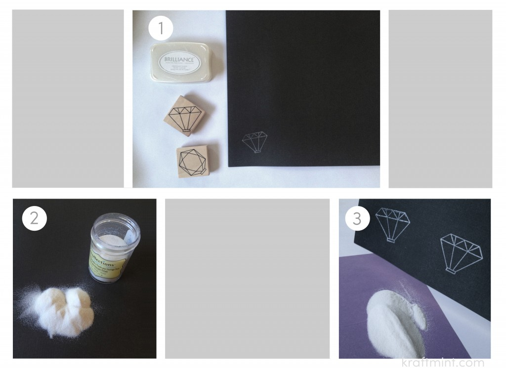 Diy diamond ornaments tutorial, using white pigment ink, silver embossing powder, and 2 sheets of card stock.
