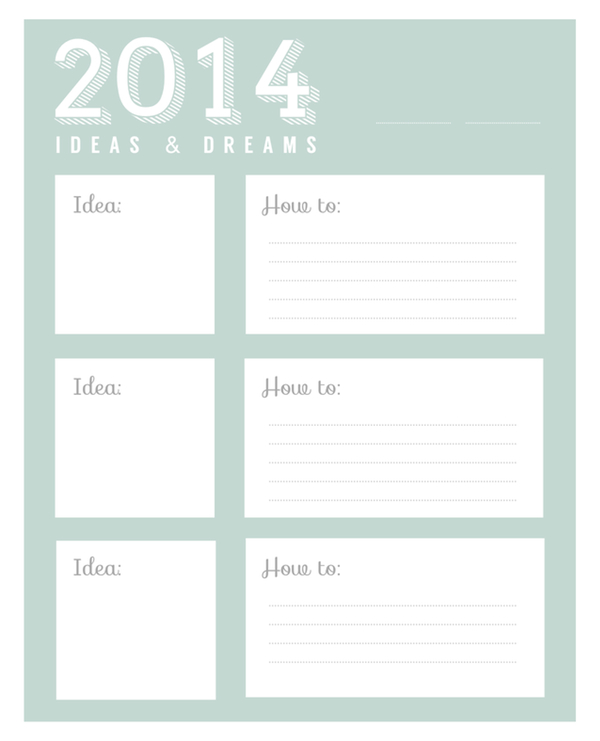 Hello 2014 Printable Goals