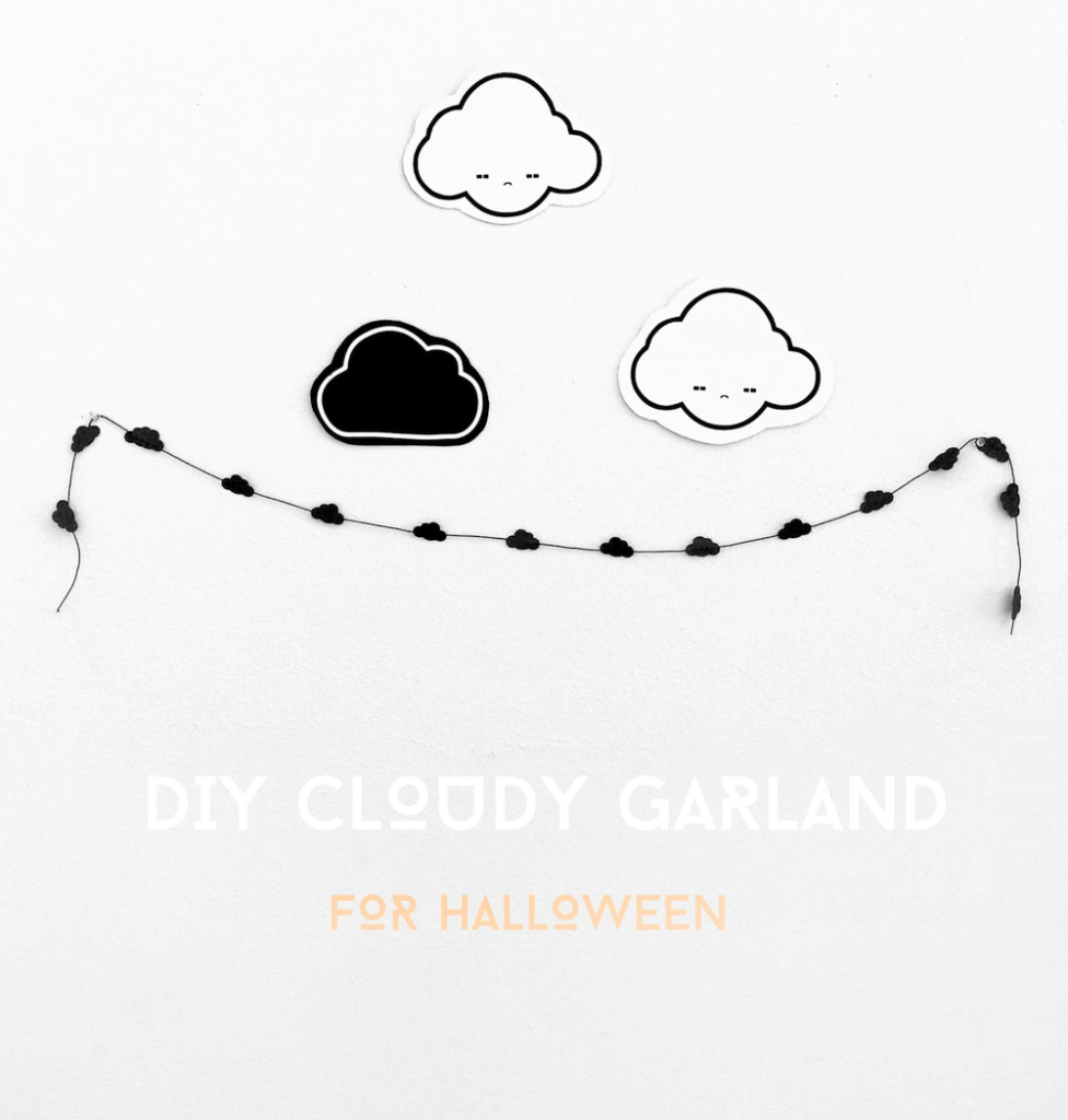 DIY Cloudy Garland for Halloween Tutorial by kraft&mint