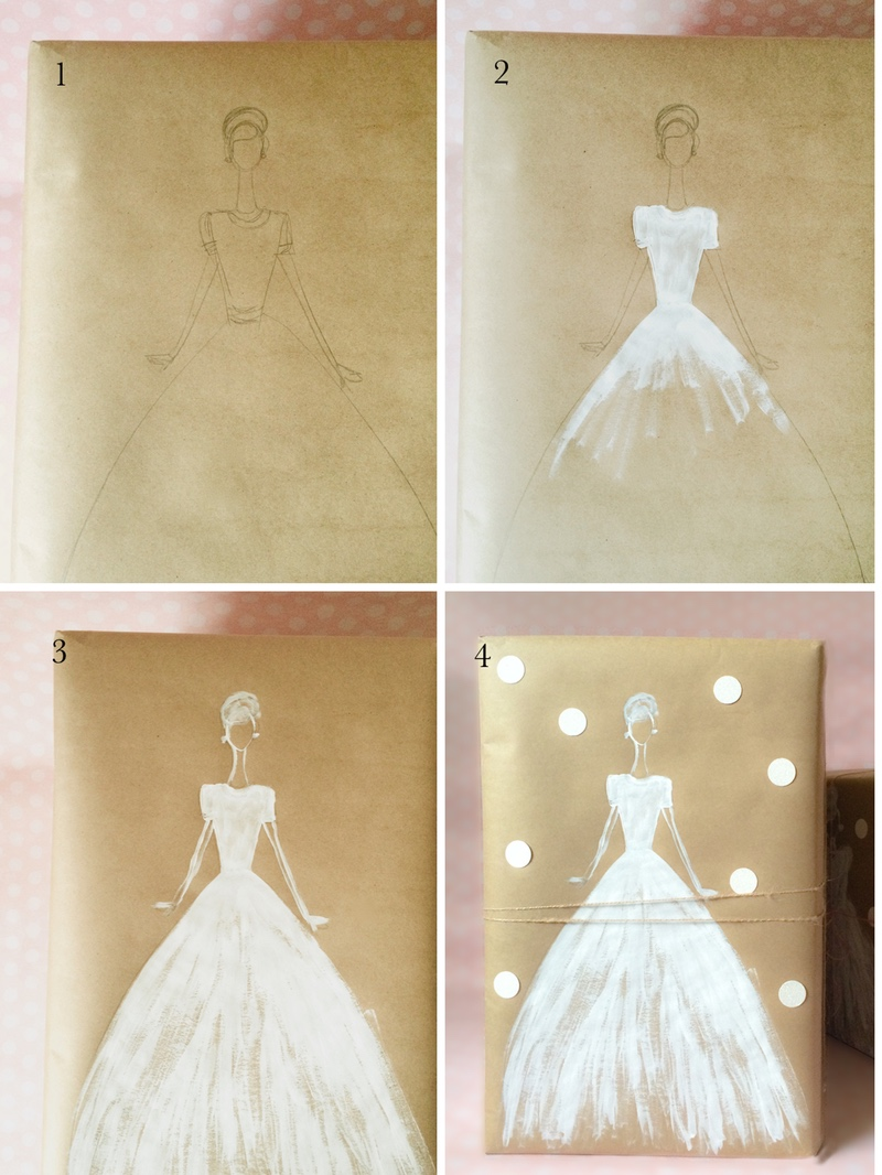 How To Wrap Wedding Gifts: Make A Pretty Gift With White Ink And Kraft Paper