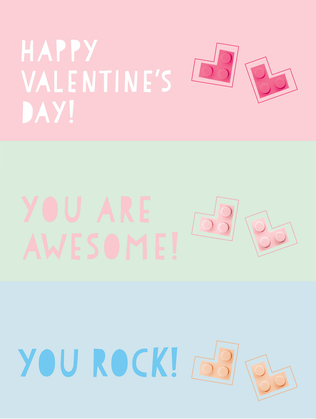 Lego Printable for Valentine's day kraft&mint