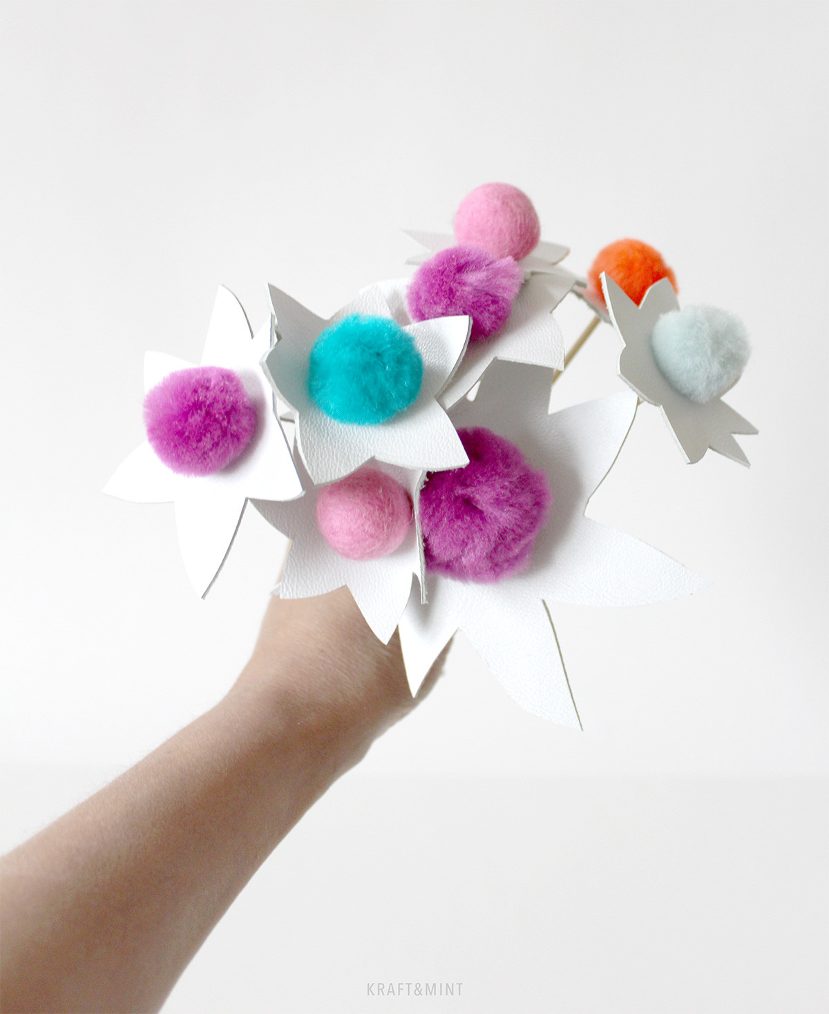 Think Happy – DIY Pom Flowers