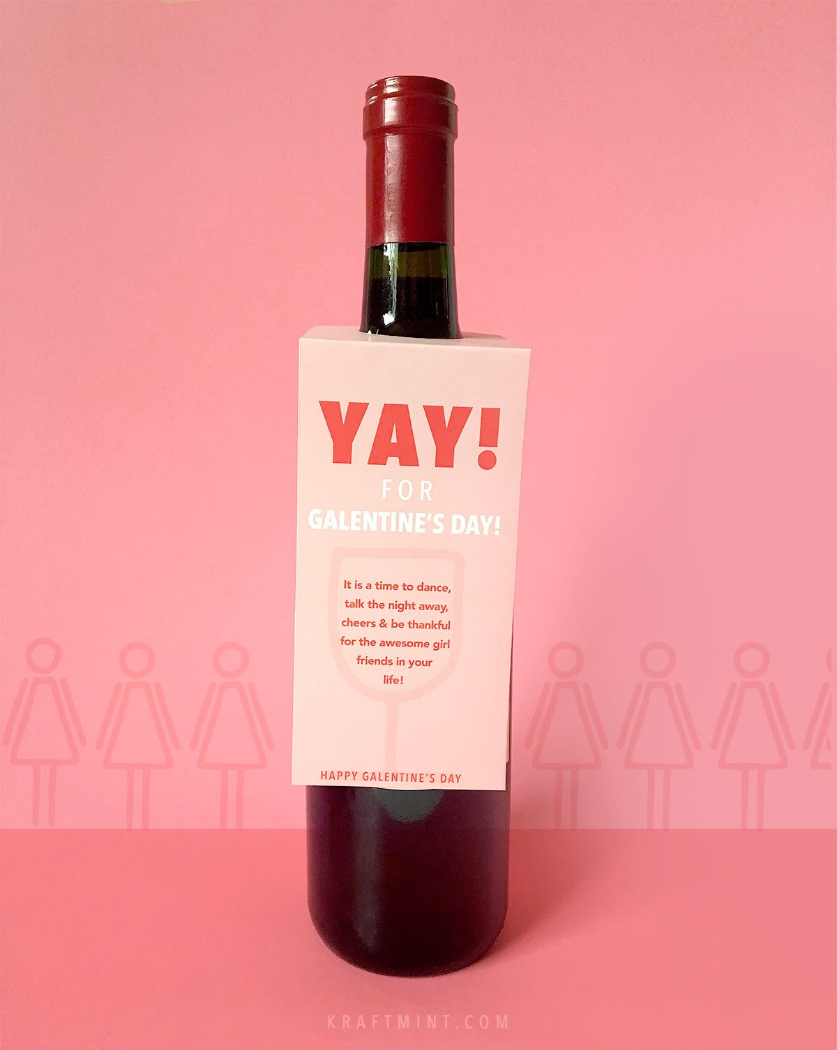Galentine's Day printable wine tags