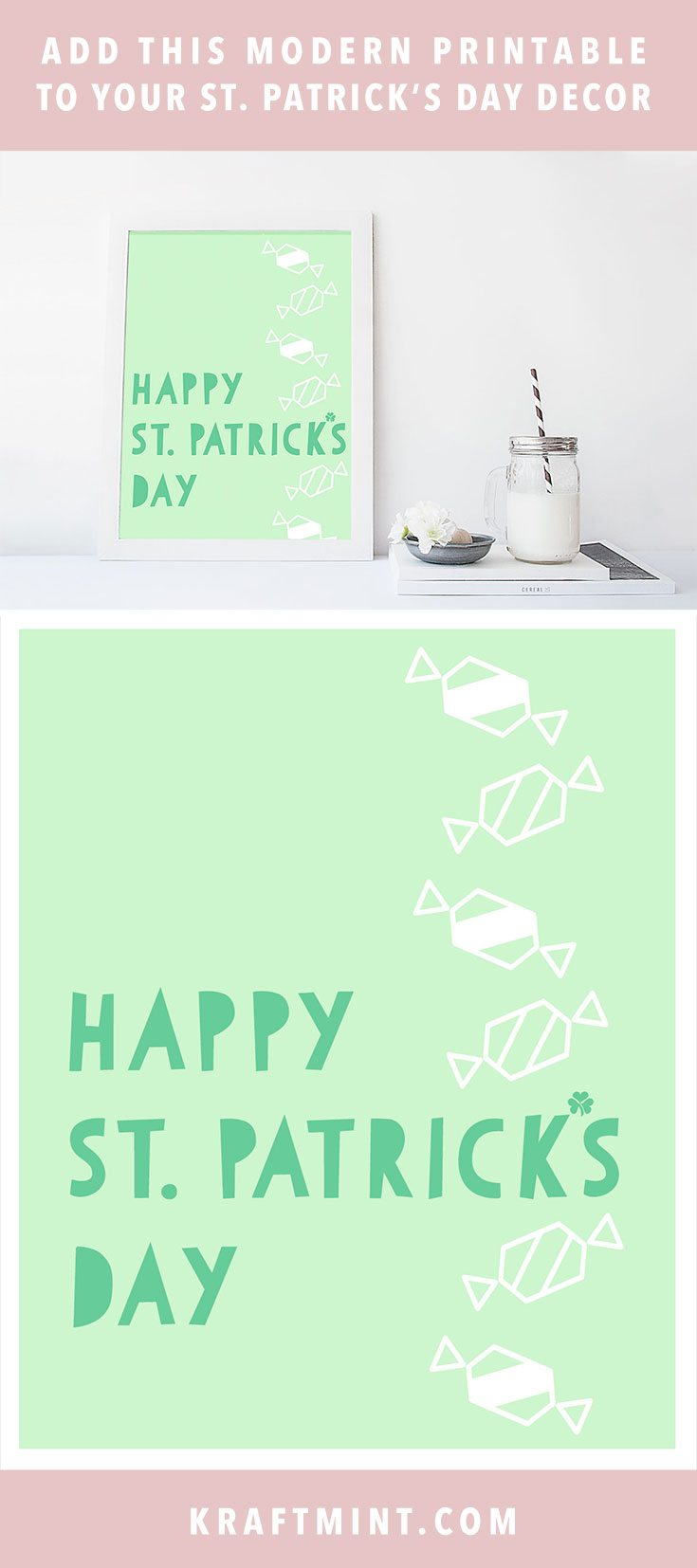 Add this modern printable to your St Patrick's day decor