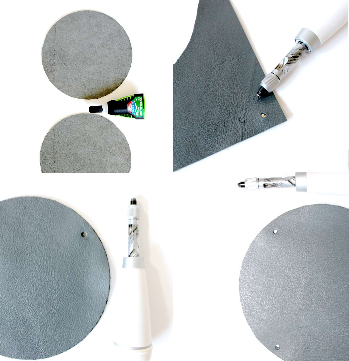 DIY Circle Leather Clutch kraft&mint