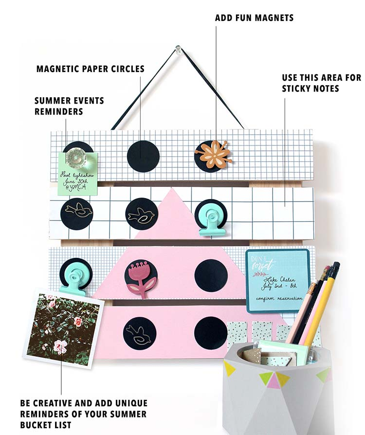 Summer Bucket List Pin Board DIY kraft&mint blog