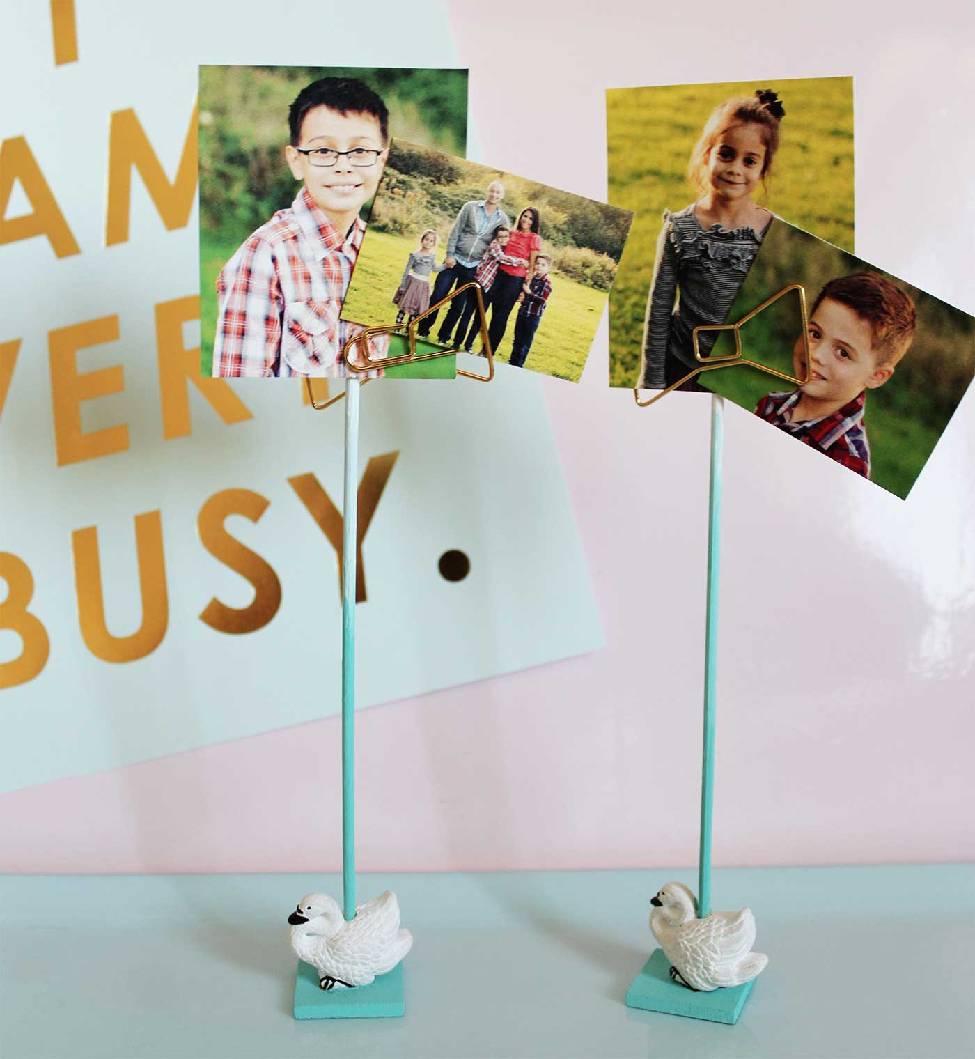 DIY Swans Photo Holders