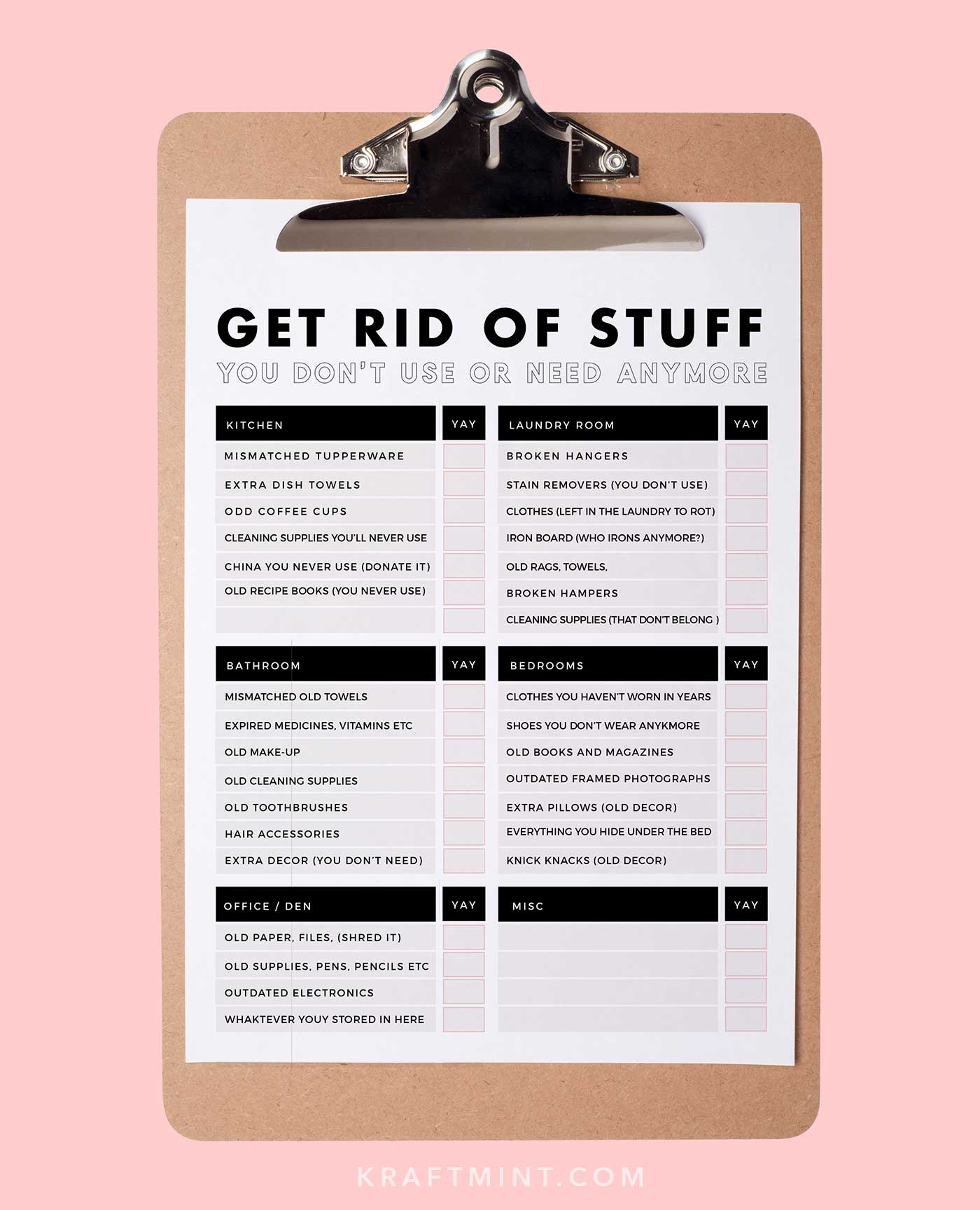 Get rid of stuff you don't need printable